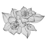 floral decoration with gardenia, for invitations, cards, banners, scrapbook - stock illustration