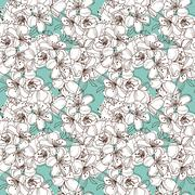 seamless pattern with cherry blossom, for invitations, cards, scrapbooking - stock illustration