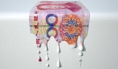 chinese yuan melting dripping banknote - stock illustration