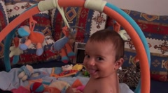 Smiling baby and his photocamera Stock Footage