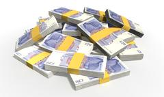 british pound sterling notes scattered pile - stock illustration