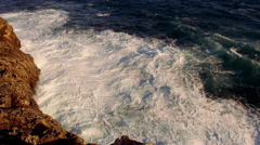 Very strong waves hitting against rocks wild water great shot Stock Footage