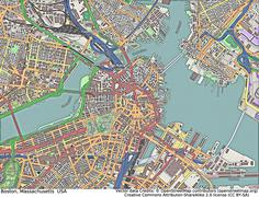 Boston Massachusetts aerial view - stock illustration