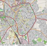 Brugges Belgium aerial view - stock illustration