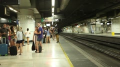 Crowd of people waiting for the train - Underground Stock Footage