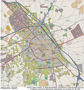 Albacete Spain aerial view - stock illustration
