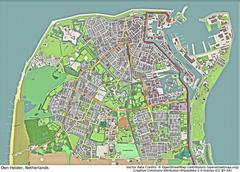 Den Helder Netherlands aerial view Stock Illustration