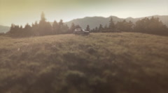 Aerial shot of a car parked at the countryside.  Pyrenees - Spain Stock Footage