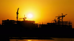 Construction site at sunset, time lapse - stock footage