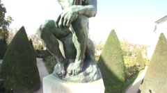 Auguste Rodin - The Thinker - Paris, France Stock Footage