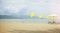 Yellow flags on a Beach. Stock Footage