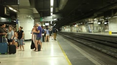 Crowd of people waiting for the train - Underground - Timelapse - stock footage