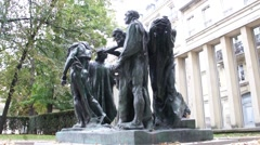 Auguste Rodin - Burghers of Calais - Paris, France Stock Footage
