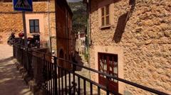 Narrow lane in romantic small spanish village Stock Footage