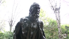 Auguste Rodin - Andrieu d'Andres (Burghers of Calais) - Paris, France - stock footage
