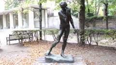 Auguste Rodin - Jacques de Wissant (The Burghers of Calais) - Paris, France Stock Footage