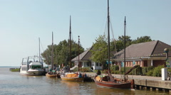Traditional sailing boats at  Wustrow, / Fishland Darss /  Germany Stock Footage