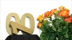 Moving birthday card with lovely roses for reaching 100 - stock footage