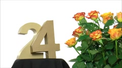 Moving birthday card with lovely roses for reaching 24 - stock footage