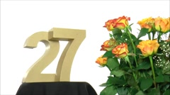 Moving birthday card with lovely roses for reaching 27 - stock footage
