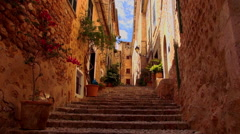 Romantic small spanish village with Mallorca style brick houses Stock Footage