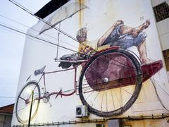 Massive Street Art Mural in Georgetown, Penang, Malaysia Stock Photos