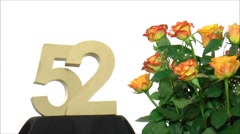 Moving birthday card with lovely roses for reaching 52 - stock footage