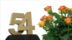 Moving birthday card with lovely roses for reaching 54 Stock Footage