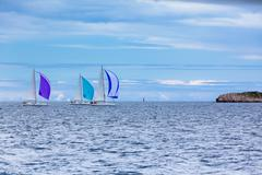 Yacht regatta at the adriatic sea in windy weather Stock Photos
