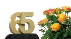 Moving birthday card with lovely roses for reaching 65 - stock footage