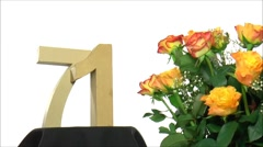 Moving birthday card with lovely roses for reaching 71 - stock footage