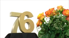 Moving birthday card with lovely roses for reaching 76 - stock footage