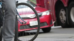 Bike and cars Stock Footage