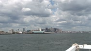 Stock Video Footage of Boston Harbour by Fast Ferry