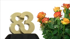 Moving birthday card with lovely roses for reaching 83 Stock Footage