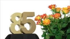 Moving birthday card with lovely roses for reaching 85 - stock footage