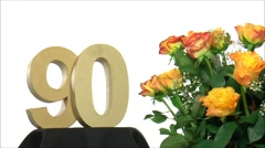 Moving birthday card with lovely roses for reaching 90 - stock footage