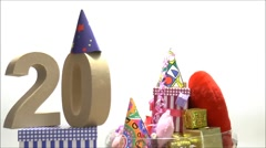 Moving birthday card with party mood for reaching 20 - stock footage