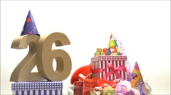 Moving birthday card with party mood for reaching 26 - stock footage