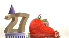 Moving birthday card with party mood for reaching 27 - stock footage