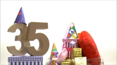 Moving birthday card with party mood for reaching 35 - stock footage