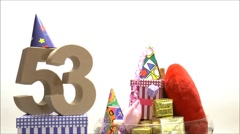 Moving birthday card with party mood for reaching 53 Stock Footage
