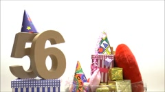 Moving birthday card with party mood for reaching 56 Stock Footage