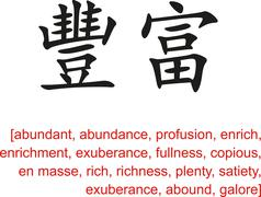 Chinese Sign for abundant, abundance,profusion,enrich,enrichment Stock Illustration