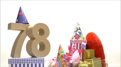 Moving birthday card with party mood for reaching 78 Stock Footage