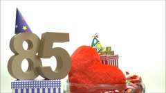 Moving birthday card with party mood for reaching 85 Stock Footage