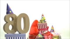 Moving birthday card with party mood for reaching 80 - stock footage