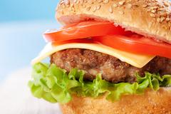 cheeseburger with tomatoes and lettuce - stock photo