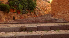 Stairs of stone in an ancient small spanish village Stock Footage