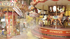 Beautiful merry-go-round toys on display Stock Footage